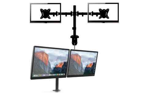 Groupon Goods Global GmbH - Vivo Dual Screen Desk Mount Arm Computer TV LCD Screen Bracket Double 13 to 27 inch with Concealed Cable Design - Save 0%
