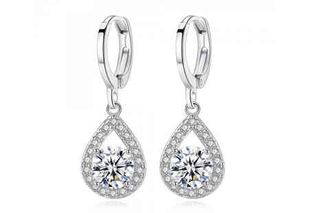 Your Ideal Gift - Pair of crystal and simulated sapphire drop earrings - Save 0%
