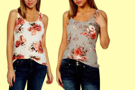 Shapelle - Pack of two ladies floral tank tops choose from two colours - Save 67%