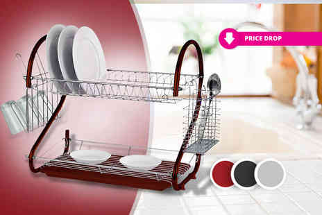 Direct 2 public - Two tiered dish drainer choose from three colours - Save 75%