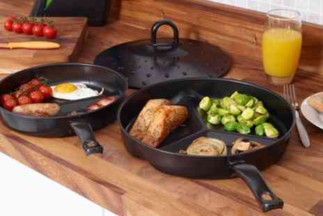 Groupon Goods Global GmbH - One or Two Non Stick Divider Frying Pan Sets - Save 80%