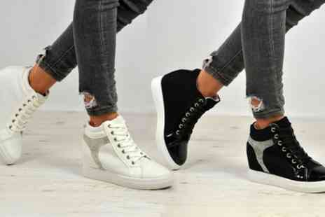 Groupon Goods Global GmbH - White or Black Womens Studded High Top Trainers - Save 0%