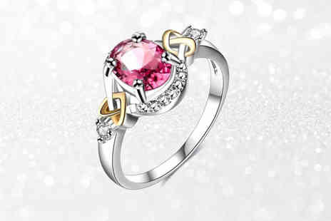 Your Ideal Gift - Pink simulated sapphire heart crystal ring - Save 77%