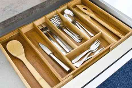 Groupon Goods Global GmbH - Expandable Bamboo Cutlery Tray - Save 0%