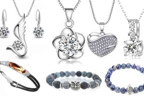 Groupon Goods Global GmbH - Bracelets and Necklaces with Zirconia Crystals and Natural Stones - Save 89%