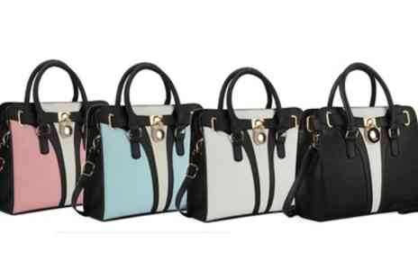 Groupon Goods Global GmbH - Patchwork Handbag with Padlock in Choice of Colour - Save 0%