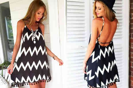Anarchy - Aztec print backless chiffon cover up - Save 75%