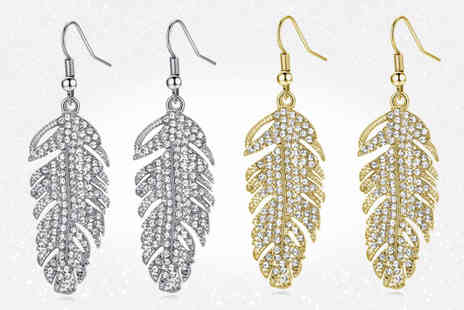 Your Ideal Gift - Feather drop earrings made with crystals from Swarovski choose from two colours - Save 85%