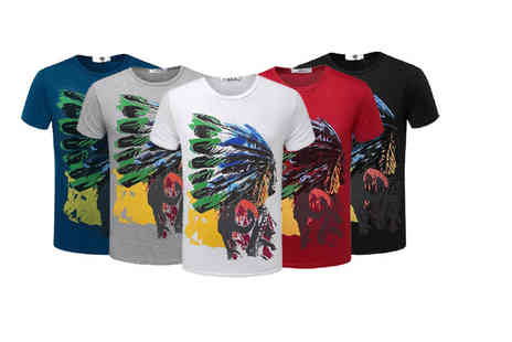 Bluebell Retail - Mens tribal print t shirt choose from seven colours - Save 68%