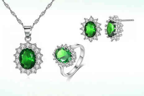 Your Ideal Gift - Emerald green created sapphire tri set - Save 90%