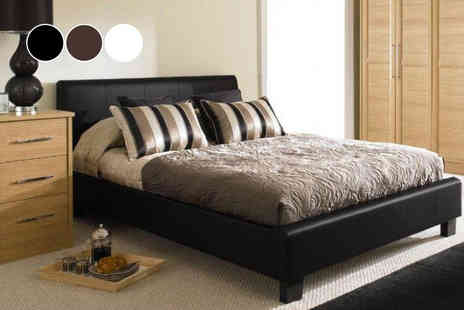 Stag Stores - Double Roma faux leather bed frame or king bed frame - Save 0%