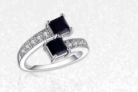 Your Ideal Gift - Rhodium plated ring with black lab created sapphires - Save 86%