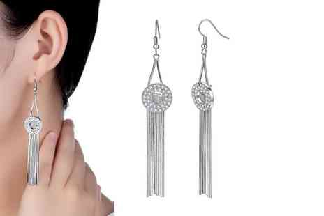 GameChanger Associates - Pair of drop earrings made with clear cubic zirconia crystals - Save 90%