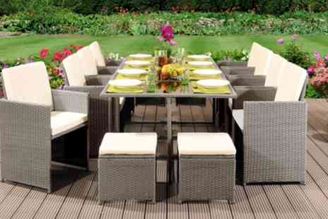 Groupon Goods Global GmbH - 9, 11 or 13 Piece Rattan Effect Cube Dining Sets with Optional Cover With Free Delivery - Save 73%