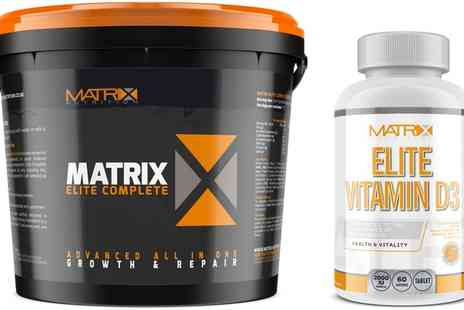 Groupon Goods Global GmbH - Matrix Elite Complete All in One Protein Powder, 2.25kg and 60 Vitamin D3 Tablets - Save 0%