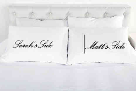 2P Gifts - Set of personalised his and her wedding pillowcases - Save 73%