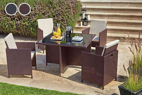 Beds 24hr - Five piece cube rattan set choose from two colours - Save 68%