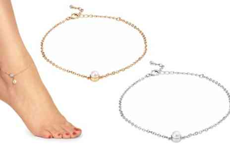 Groupon Goods Global GmbH - One or Two Philip Jones Pearl Ankle Bracelets with Crystal from Swarovski - Save 90%