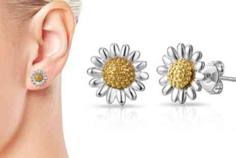 Groupon Goods Global GmbH - One or Two Pairs of Philip Jones Daisy Stud Earrings - Save 82%