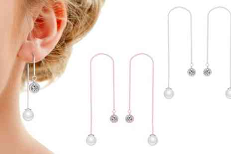 Groupon Goods Global GmbH - One, Two or Three Pairs of Philip Jones Pearl Thread Earrings with Crystals from Swarovski - Save 82%