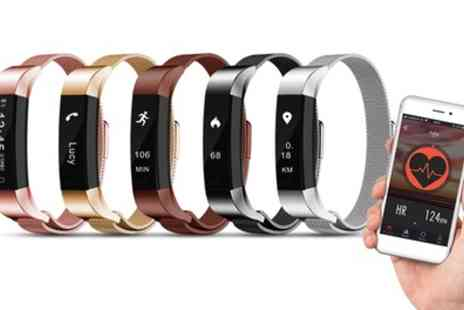 Groupon Goods Global GmbH - Aquarius AQ115 Fitness Tracker with Metal Mesh Strap and Optional Heart Rate Monitor in Choice of Colour - Save 56%