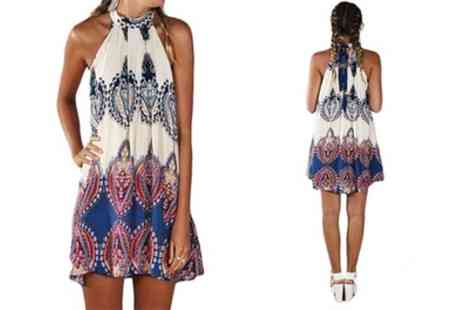 Groupon Goods Global GmbH - Halterneck Boho Summer Dress - Save 0%