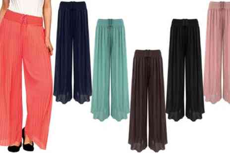 Groupon Goods Global GmbH - Womens Pleated Chiffon Flared Palazzo Trousers - Save 0%