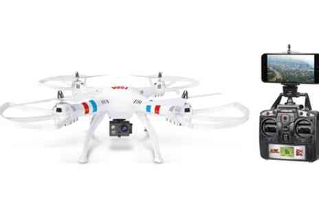 Groupon Goods Global GmbH - Large Quadcopter 63cm Drone with HD Camera and Live Wi-Fi Feed With Free Delivery - Save 47%
