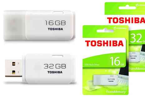 Groupon Goods Global GmbH - Toshiba TransMemory Usb 2.0 White Flash Drive 16GB or 32GB - Save 0%