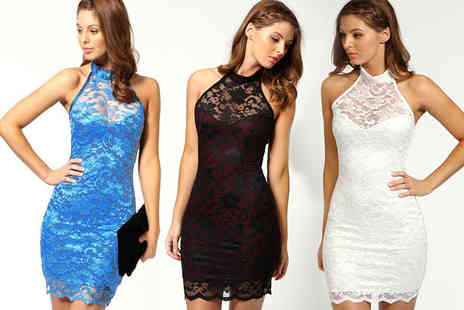 Boni Caro - Coco lace halterneck dress choose black, white or blue - Save 80%