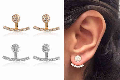 Your Ideal Gift - Pair of crystal curved gold tone jacket earrings choose either gold or silver - Save 80%