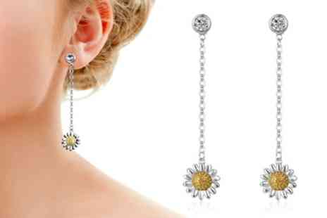 Groupon Goods Global GmbH - Philip Jones One or Two Pairs of Daisy Drop Earrings with Crystals from Swarovski - Save 86%