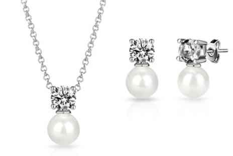 Groupon Goods Global GmbH - One or Two Philip Jones Pearl Necklace and Earrings Sets with Crystals from Swarovski - Save 81%