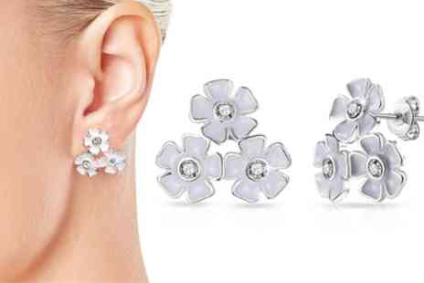 Groupon Goods Global GmbH - One or Two Pairs of Philip Jones Flower Cluster Earrings with Crystals from Swarovski - Save 88%