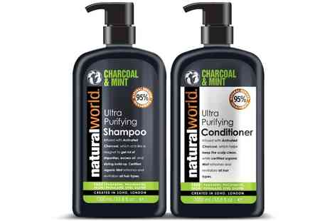 Groupon Goods Global GmbH - One or Two Sets of Natural World Charcoal and Mint Shampoo and Conditioner - Save 0%