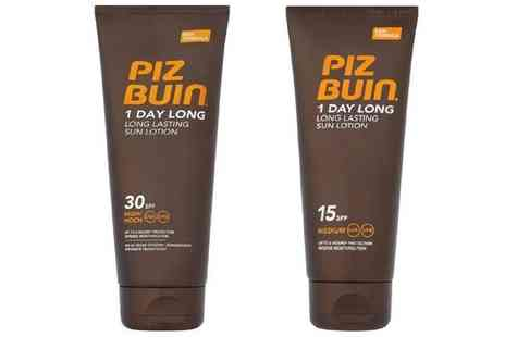 Groupon Goods Global GmbH - Two Piz Buin SPF15 or SPF30 One Day Long Sunscreen Lotions 100ml - Save 0%