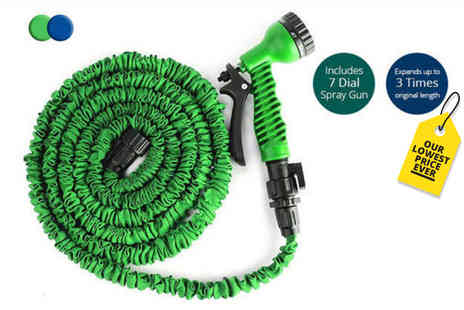 Black Feather - 50ft magic expanding hose with a seven mode spray gun - Save 75%