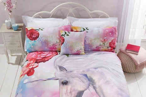 StyleMyBedroom - Unicorn Glitter Duvet Cover with Pillowcases Available in Three Sizes - Save 0%