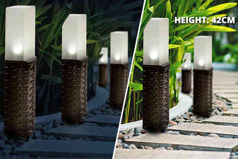 Groundlevel - Set of two rattan solar post lights or set of four - Save 75%