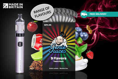 Genie Juices - Vape kit with a nine flavour taster pack Plus Delivery is included - Save 0%