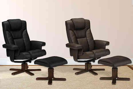 Panoply Furnishings - Julian Bowen faux leather recliner chair and footstool choose from two colours - Save 47%