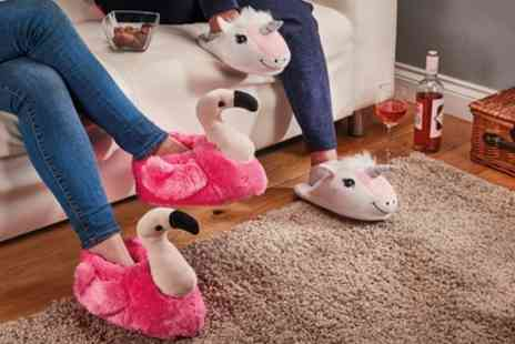 Groupon Goods Global GmbH - One or Two Pairs of Cosy Novelty Flamingo and Unicorn Slippers - Save 59%