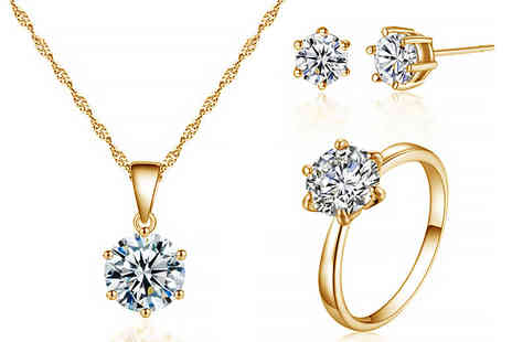 Your Ideal Gift - Crystal solitaire tri set made with crystals from Swarovski - Save 90%