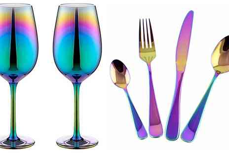 Groupon Goods Global GmbH - Holographic Cutlery Set with Optional Wine Glasses - Save 0%