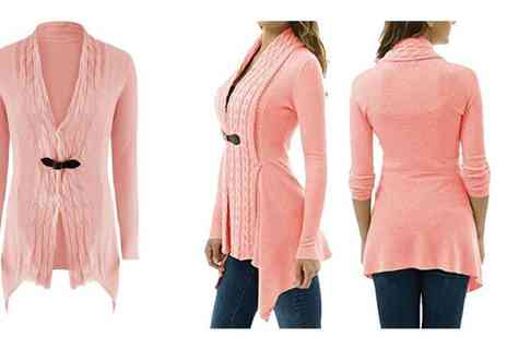 Boni Caro - Asymmetric cable-knit cardigan available in two colours - Save 82%