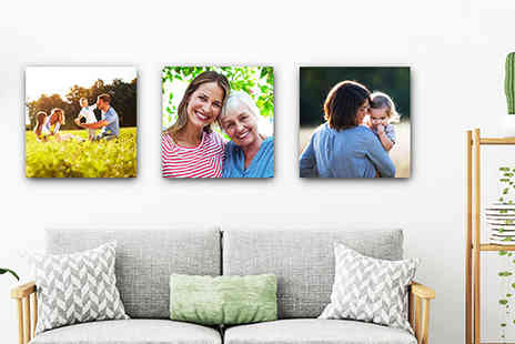 Deco Matters - Set of three 12 Inch x 12 Inch personalised canvas prints - Save 88%