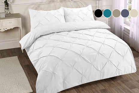 eHome Store - Single pintuck duvet cover set choose from six colours - Save 0%