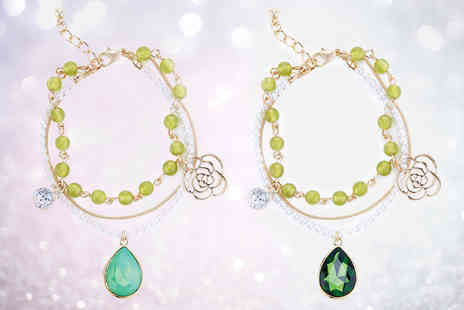 Pearl Shed - Boho charm green gem bracelet choose from two colours - Save 73%