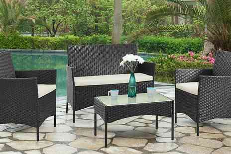 Groupon Goods Global GmbH - Four Piece Rattan Effect Garden Furniture Set with Optional Cover With Free Delivery - Save 0%