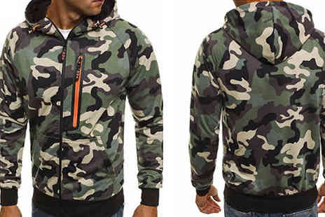 Blu Apparel - Mens Zip Up Camo Hoodie Choose 2 Colours - Save 37%